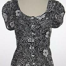 Ann Taylor Top Sz 8 Black White Floral Blouse Cotton Button Down Shirt Photo