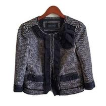 Ann Taylor Tweed Black and White Cropped Blazer Jacket Size 6 Photo