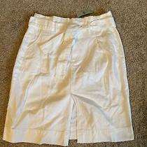 Ann Taylor White Denim Womens Petite Skirt - Size 8 Photo