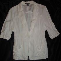 Ann Taylor White Women's Short Sleeved Jacket/blouse-Size Medium--Free Shipping Photo