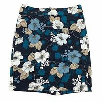 Ann Taylor Women's Blue Floral Print Pencil Skirt Knee Length 6 Photo