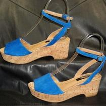 Ann Taylor Women's Blue Suede Open Toe Ankle Strap Sandals Shoes Size 6 1/2 M Photo