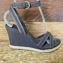Ann Taylor Women's Brown Leather Strappy Ankle Strap Wedge Sandal Shoe Size 7 Photo