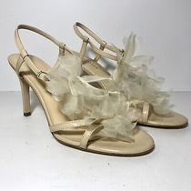 Ann Taylor Women's Camille Bloom Nude (Beige) Strappy Slim Heel Sandals Us 9m Photo