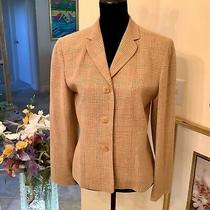 Ann Taylor Women's Multicolor Wool Linen Blend Lined Button Blazer Jacket Sz 8 Photo