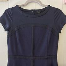 Ann Taylor Womens Navy Blue Silhouette Sheath Dress Size 0 Photo