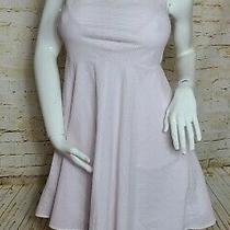 Ann Taylor Women's Size 4 Dress White Pink Blush Seersucker Full Skirt W/pocket  Photo