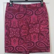 Ann Taylor Women's Size 6 Pink Maroon Paisley Print Pencil Skirt  Photo