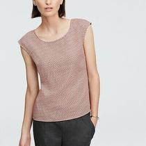 Ann Taylor Women's Size 8 Pink Cap Sleeve Blouse Brown Squares Gold Zipper Top Photo
