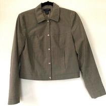 Ann Taylor Women's Stretchy Tan Career Cropped Blazer Jacket Size 4 Photo