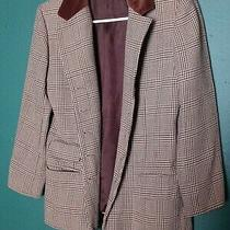 Ann Taylor Women's Suit Jacket Size 2 Xs 100% Wool Brown Plaid Buttonspockets Photo