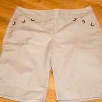Ann Taylor Women's Sz 8 Cotton Lycra Blend Beige Bermuda Walking Shorts Pockets Photo