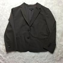 Ann Taylor Womens 14 Gray Pinstripe Career Blazer Jacket Wool Blend D25 Photo