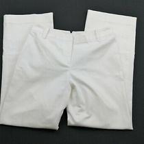 Ann Taylor Womens Pants Size 4 White Straight Leg Trouser Career Casual Photo