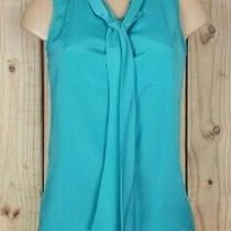 Ann Taylor Womens Size Xs Sleeveless Shirt Button Front Built in Scarf Green Top Photo