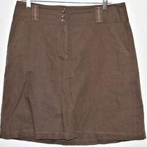 Ann Taylor Womens Skirt Size 8 Brown Linen Blend Lined Belt Loops Button Zip  Photo