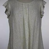 Ann Taylor Womens Top Size 12 Petite Beige Ivory Printed Shirt Blouse Cap Sleeve Photo