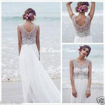 Anna Campbell Beach Wedding Dresses Bohemian Beaded Chiffon Bridal Gown Size 12 Photo