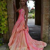 Anna Maier Ulla Maija Silk Wedding Gown Dress Blush Rose Peach Pink 4 6 8 New  Photo