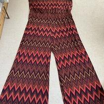 Anna Scholz Vcg Size 22 Simply Zig Zag Pattern Orange Brown Wide Leg Jumpsuit Photo