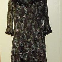 Anna Sui for Anthropologie Black Silk Dress Ruffles Lace Chair Print 6 Photo