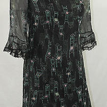 Anna Sui for Anthropologie Sz 2 Parlor Games Dress Black Green Pink Chairs Silk Photo
