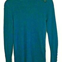 Anne Klein 100% Cashmere Blue Green Turtleneck Sweater Size Ps Photo
