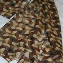 Anne Klein  100% Silk Scarf - Brown & Beige Circles - Sheer 13 X 60