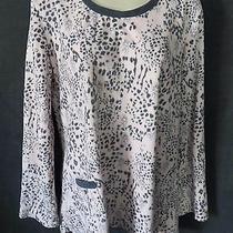 Anne Klein 2 Cozy Warm Pink Gray Leopard Fleece Winter Pajama Lounge Shirt Top L Photo