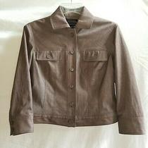 Anne Klein 4p Long Sleeve Brown Blazer Jacket Cropped Bomber Lined Stretch Ps  Photo