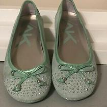 Anne Klein Akbuiltin Mint Green Slip on Ballet Style Shoes Sz 7 Suede Leather Photo