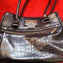 Anne Klein Black Faux Crocodile Print Handbag/tote Great Condition Photo