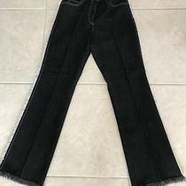 Anne Klein Black Jeans W/fringe White Stitching Size 8 Inseam 31 Euc Fabulous Photo