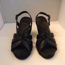 Anne Klein Black Leather Sandals 7m With 3.75