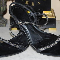 Anne Klein Black Leather Sling Back High Heel Women's Sandal Shoes Size 8 M Photo