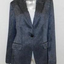 Anne Klein Black/silver Chevron Print Single Button v-Neck Collared Blazer Sz 16 Photo