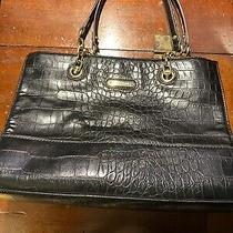 Anne Klein Black W/ Gold Chain Double Strap Textured Purse Handbag See No Wear Photo