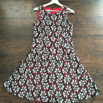 Anne Klein Black White Red Floral Lace Overlay a-Line Dress Size 8 Photo