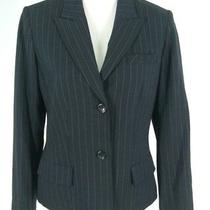 Anne Klein Blazer Sz 8 Charcoal Gray Pinstripe All Season Stretch Jacket Womens Photo