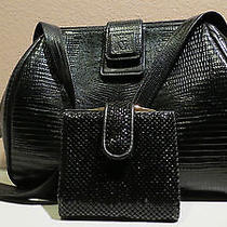 Anne Klein Blk Leather Embossed Reptile Shoulder Bag Whiting Davis Mesh Wallet  Photo