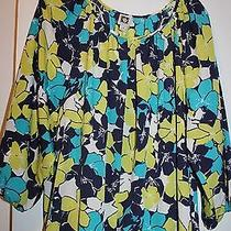 Anne Klein Bright Colorful Navy Lime Teal White Floral Blouse Top 84 Nwt 3x  Photo