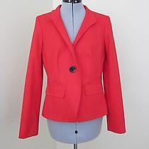 Anne Klein Bright Red Cotton Blazer or Light Jacket- Size 8p (2% Spandex) Photo