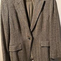 Anne Klein Brown Herringbone Jacket Wool and Silk Blend Size 10 Photo