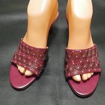 Anne Klein Burgundy Leather  Slide Sandal Size 7m 1 3/4-2 3/4 in.heel Photo