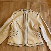 Anne Klein Camel Leather Jacket Size 8 Photo