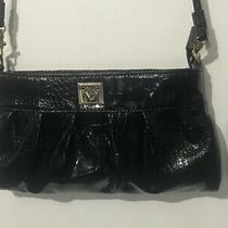 Anne Klein Clutch/shoulder Bag Black Patent Leatherette Croc Gold Tones Hardware Photo