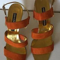 Anne Klein Couture Orange Suede Gold Leather Slingback Sandals Made in Italy 8.5 Photo