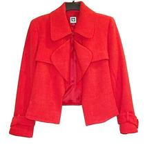 Anne Klein Cropped Red Blazer Jacket Long Sleeve Women's Size 8 Career  Photo