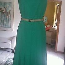 Anne Klein Fluted Jade Green Sheath Dress. Size 6 Photo