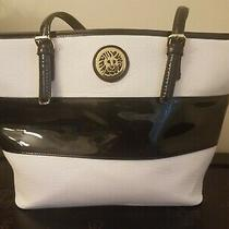Anne Klein Handbag Tote Bag Large Purse Black and White Faux Leather Medium Photo
